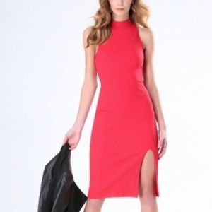 BEBE Red Ribbed Bodycon Petite Dress W Slit | XXS